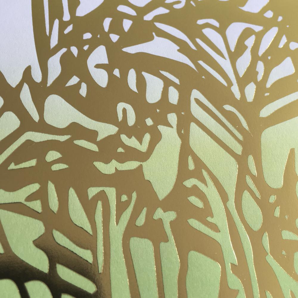 Affisch Allium guld närbild