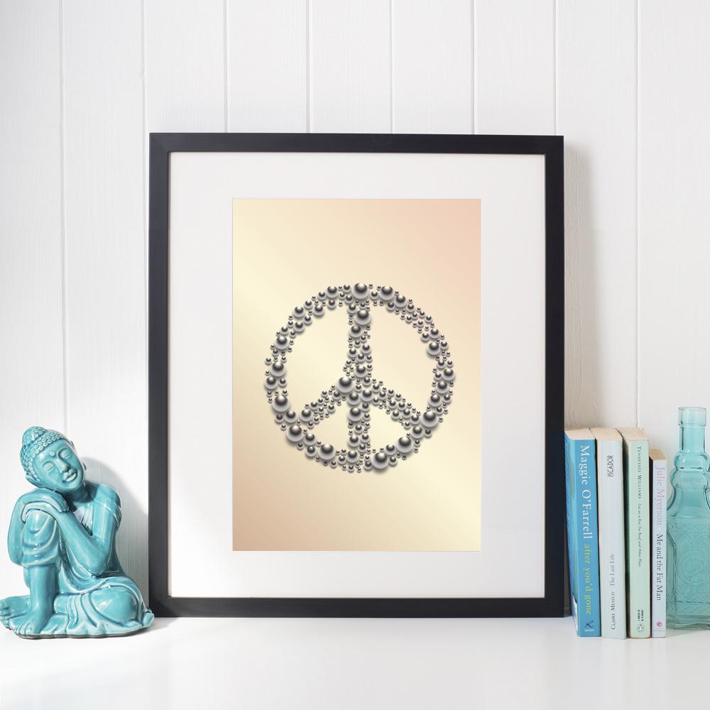 Affisch Peace aprikos