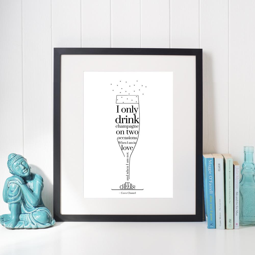 Affisch Champagne vit