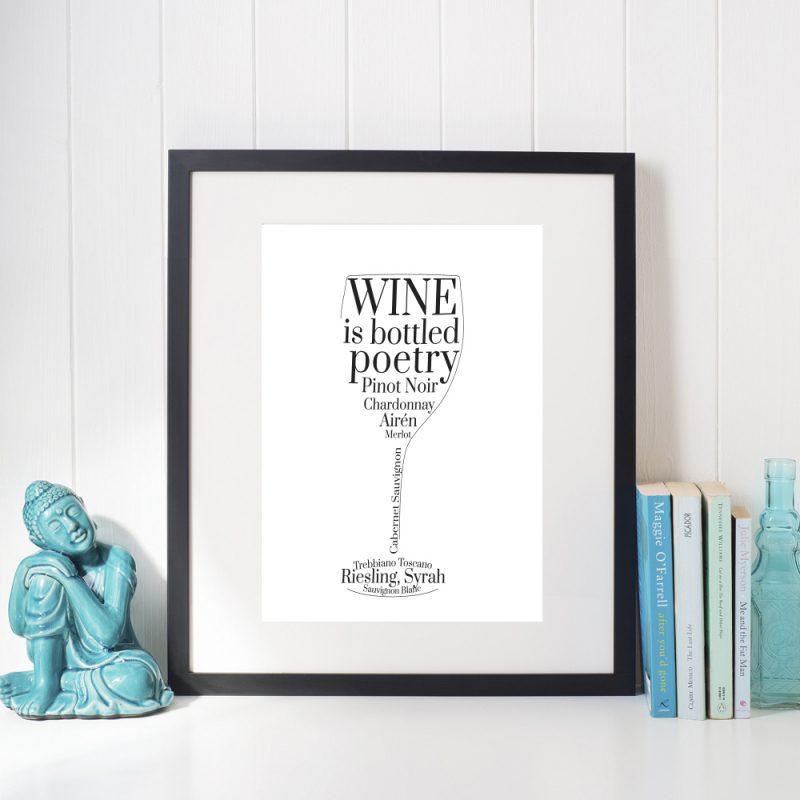 Affisch vinglas vit