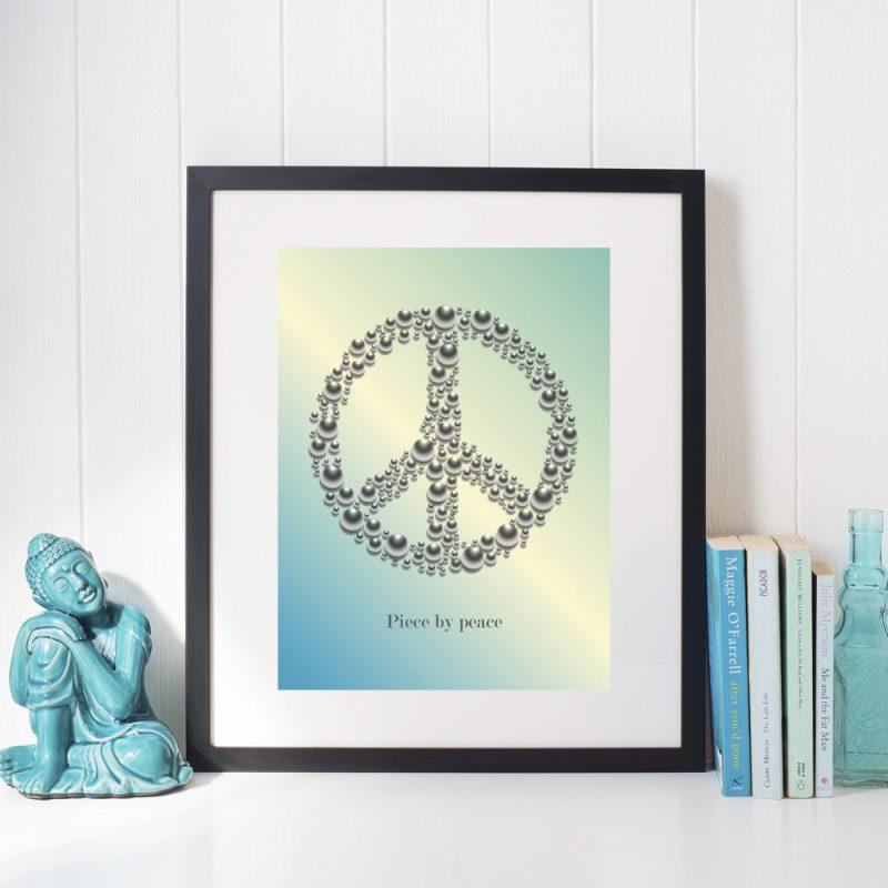 Affisch Piece by peace turkos
