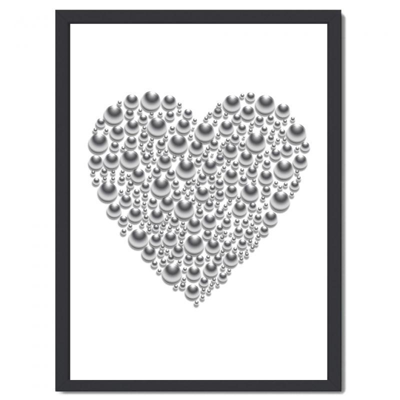 Affisch hjärta vit