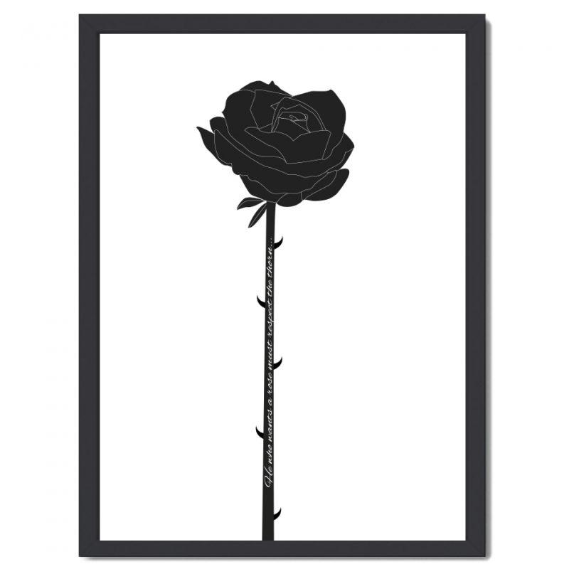 Affisch ros svart